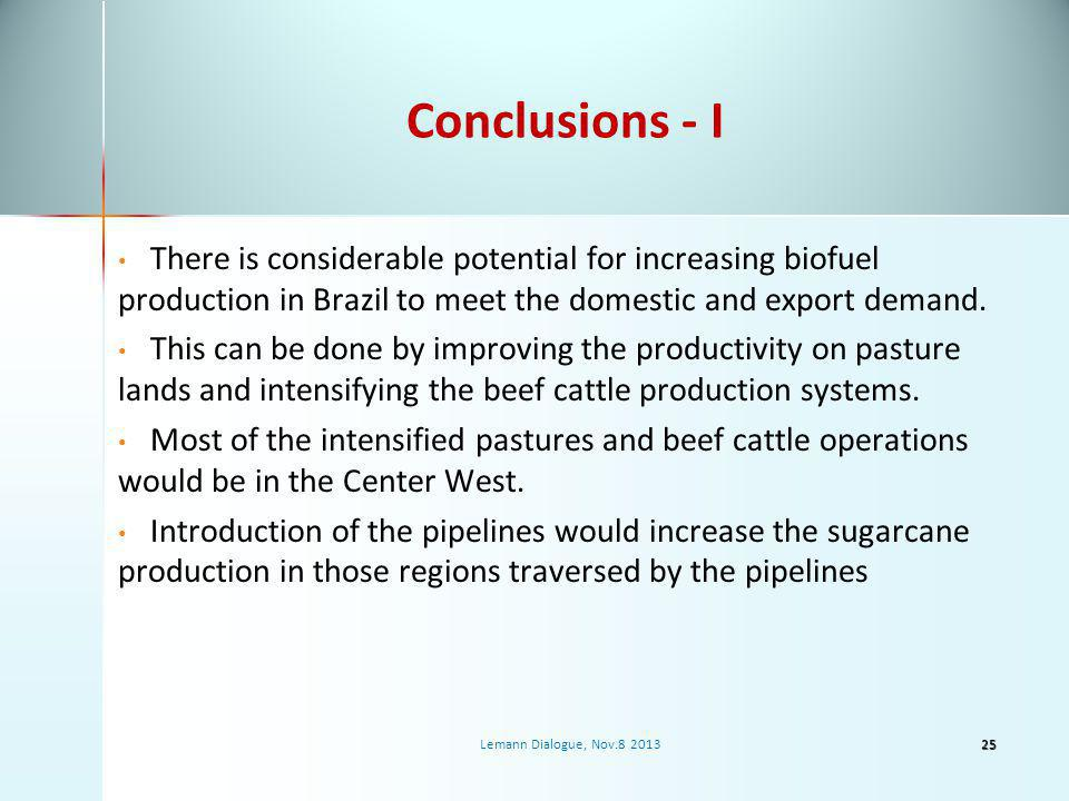 Conclusions - I There is considerable potential for increasing biofuel production in Brazil to meet the domestic and export demand.