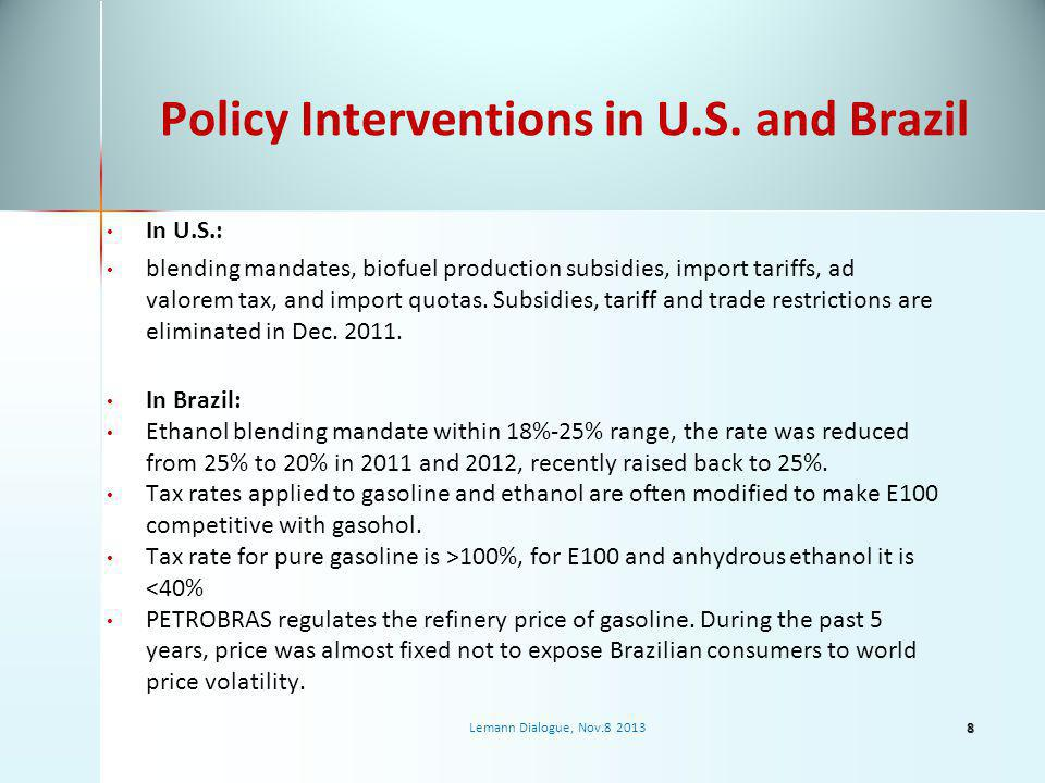 Policy Interventions in U.S.