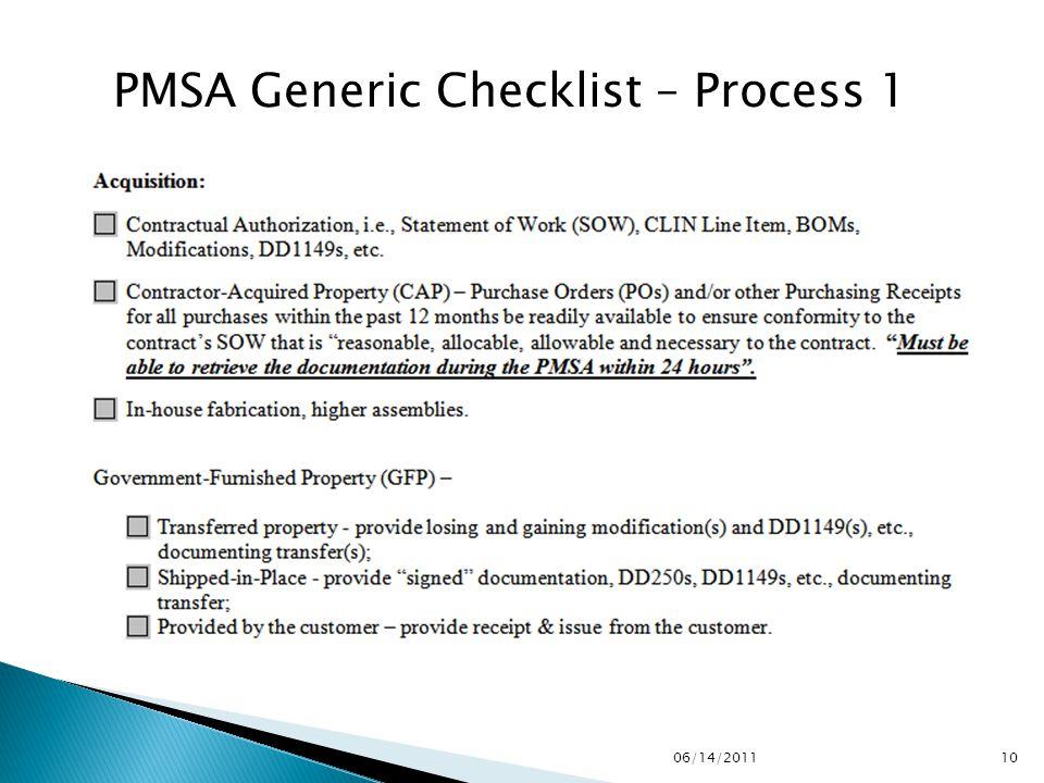 PMSA Generic Checklist – Process 1 1006/14/2011