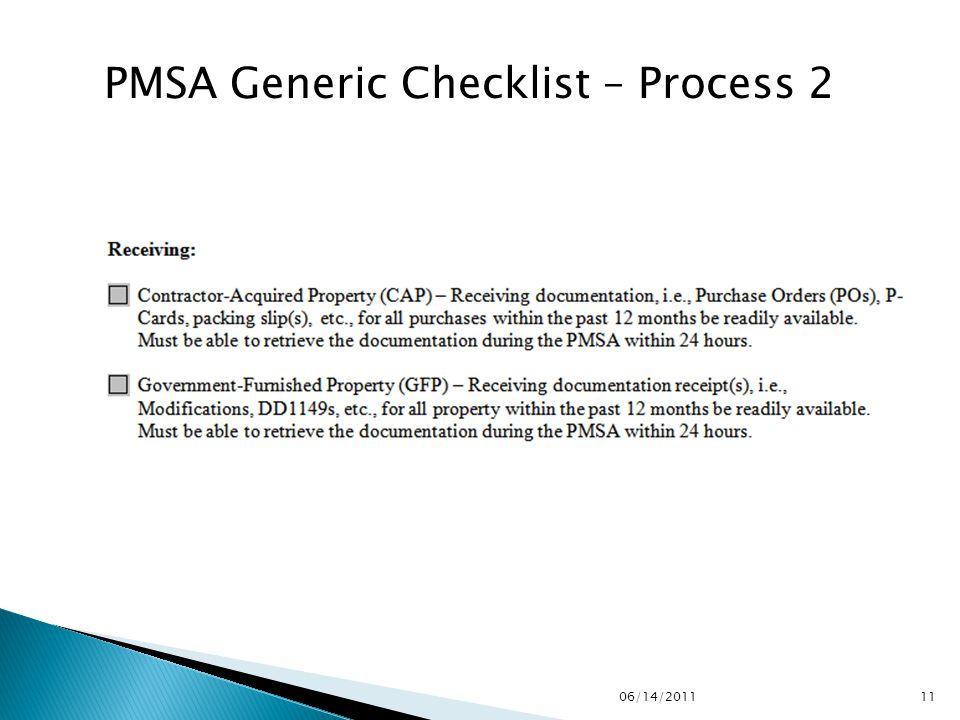 PMSA Generic Checklist – Process 2 1106/14/2011