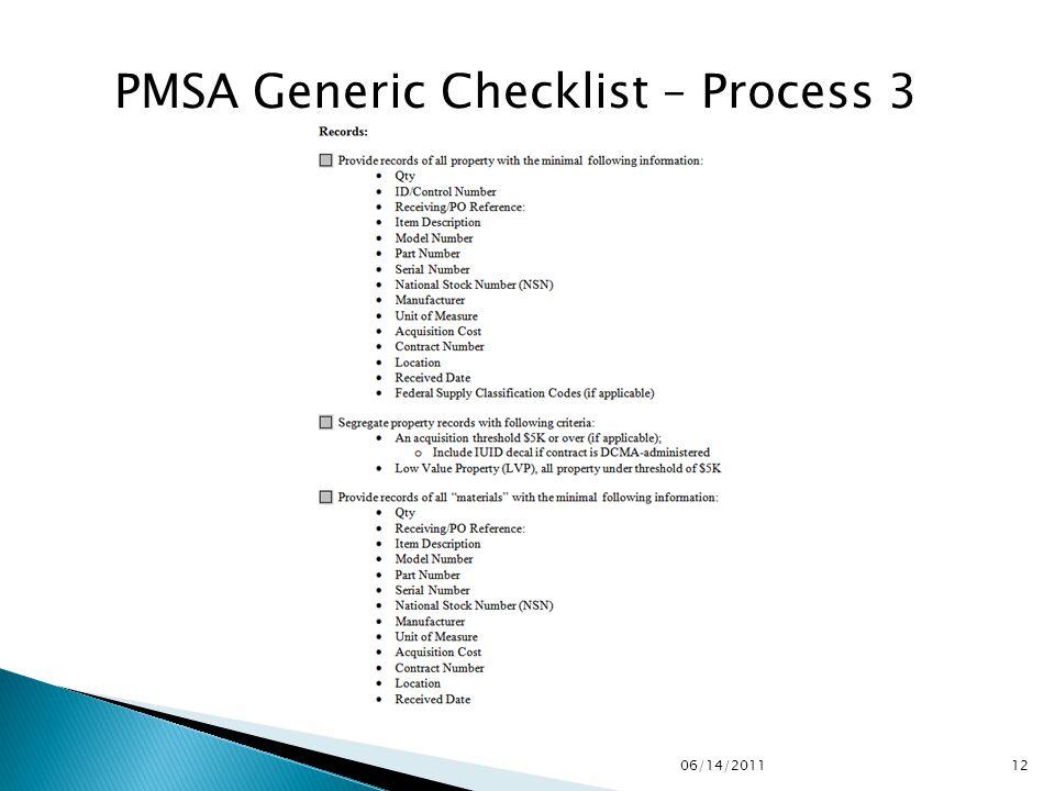 PMSA Generic Checklist – Process 3 1206/14/2011