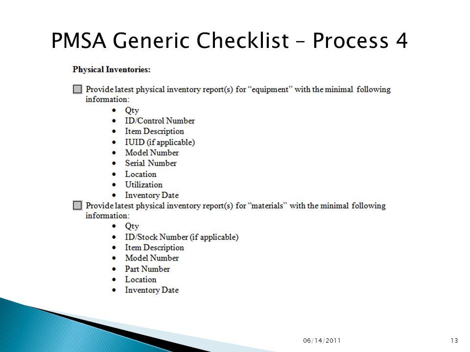 PMSA Generic Checklist – Process 4 1306/14/2011