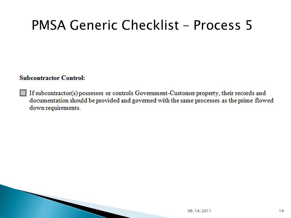 PMSA Generic Checklist – Process 5 1406/14/2011