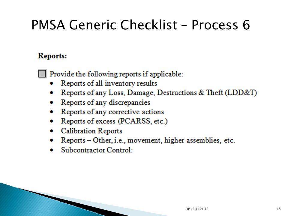 PMSA Generic Checklist – Process 6 1506/14/2011