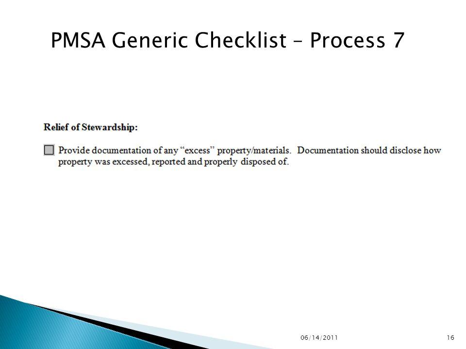 PMSA Generic Checklist – Process 7 1606/14/2011