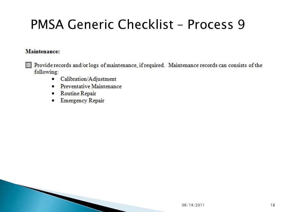 PMSA Generic Checklist – Process 9 1806/14/2011