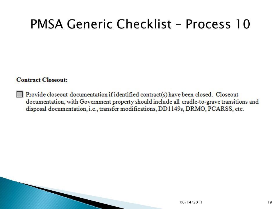 PMSA Generic Checklist – Process 10 1906/14/2011