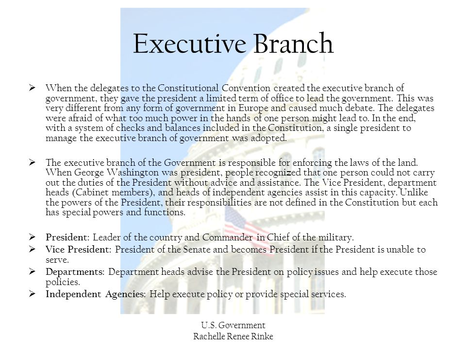 U.S. Government Rachelle Renee Rinke Executive Branch  When the delegates to the Constitutional Convention created the executive branch of government