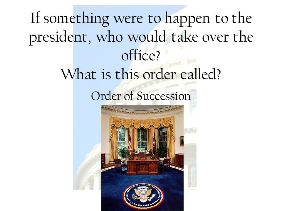 U.S. Government Rachelle Renee Rinke If something were to happen to the president, who would take over the office? What is this order called? Order of