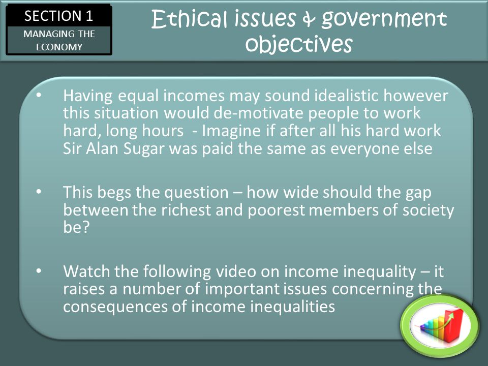 SECTION 1 MANAGING THE ECONOMY Ethical issues & government objectives Having equal incomes may sound idealistic however this situation would de-motiva
