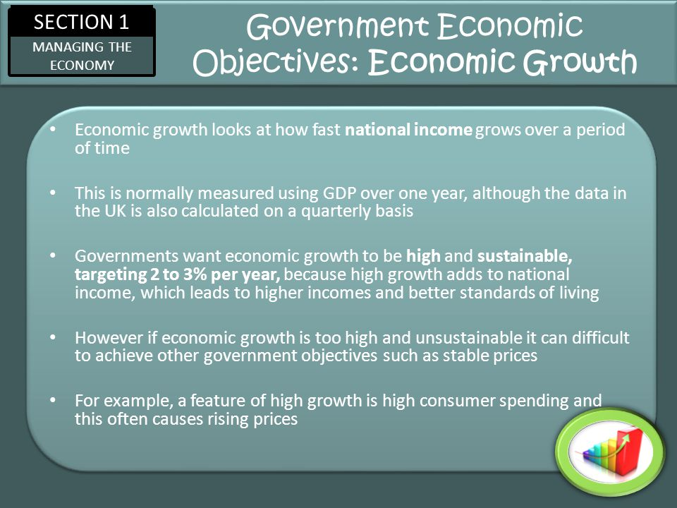 SECTION 1 MANAGING THE ECONOMY Government Economic Objectives: Economic Growth Economic growth looks at how fast national income grows over a period o