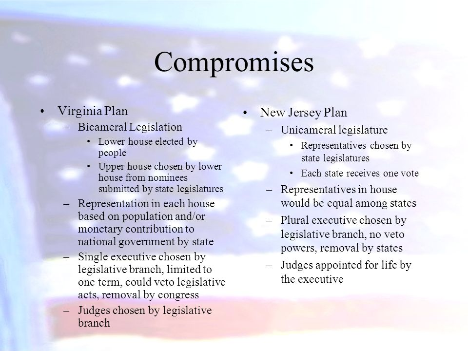Compromises Virginia Plan –Bicameral Legislation Lower house elected by people Upper house chosen by lower house from nominees submitted by state legi