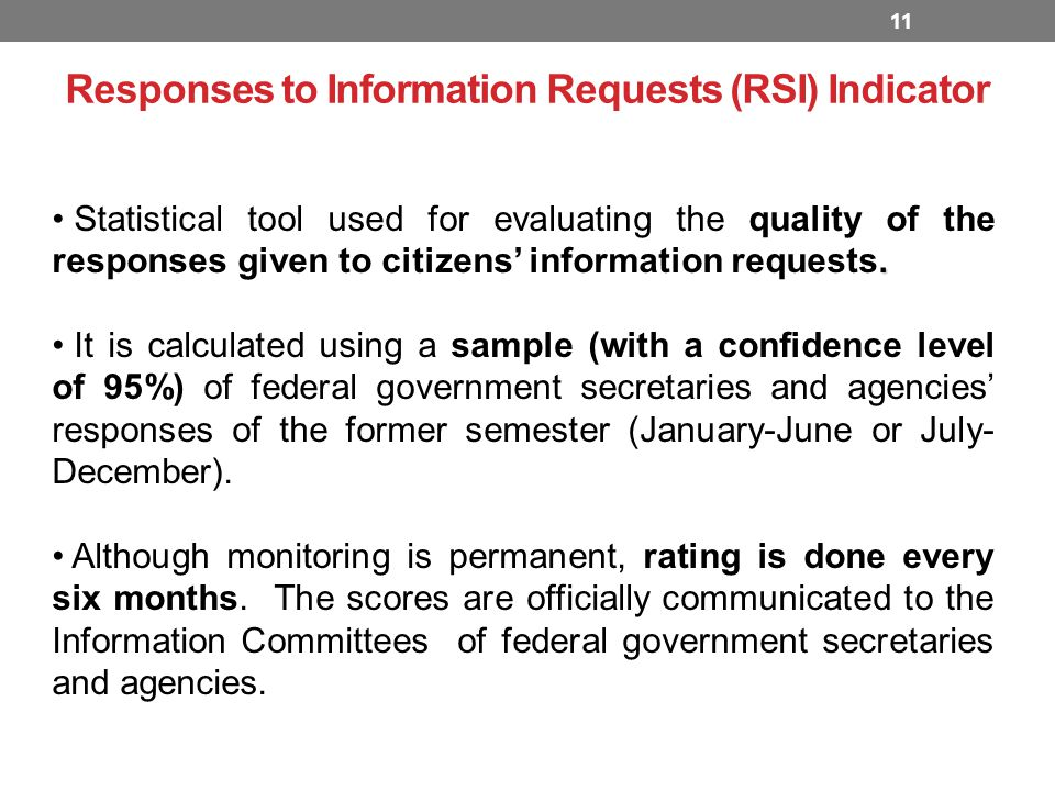 Responses to Information Requests (RSI) Indicator 11.