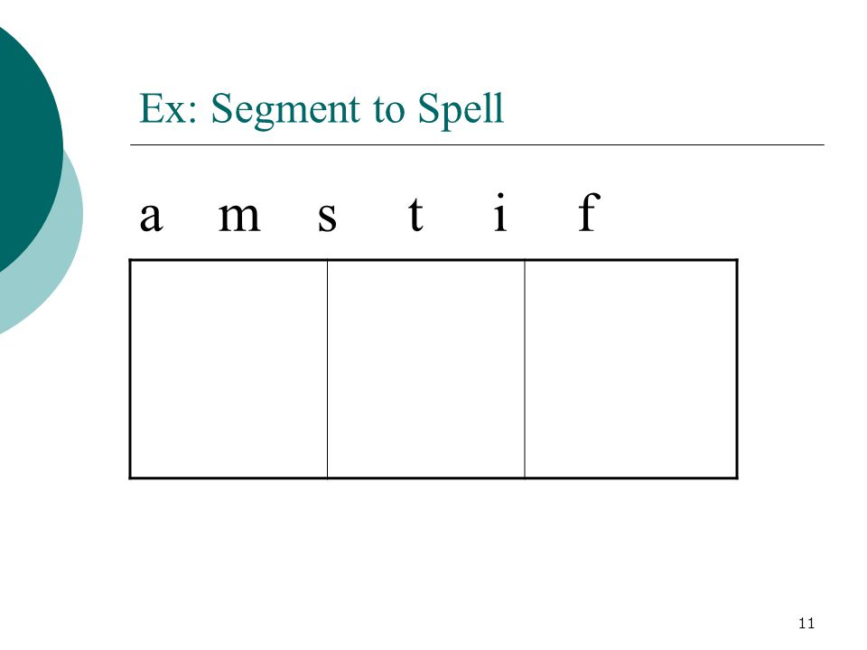 11 Ex: Segment to Spell a m s t i f