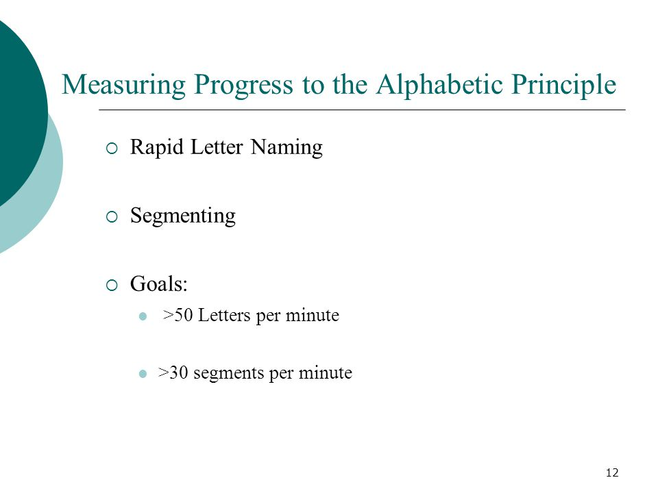 12 Measuring Progress to the Alphabetic Principle  Rapid Letter Naming  Segmenting  Goals: >50 Letters per minute >30 segments per minute