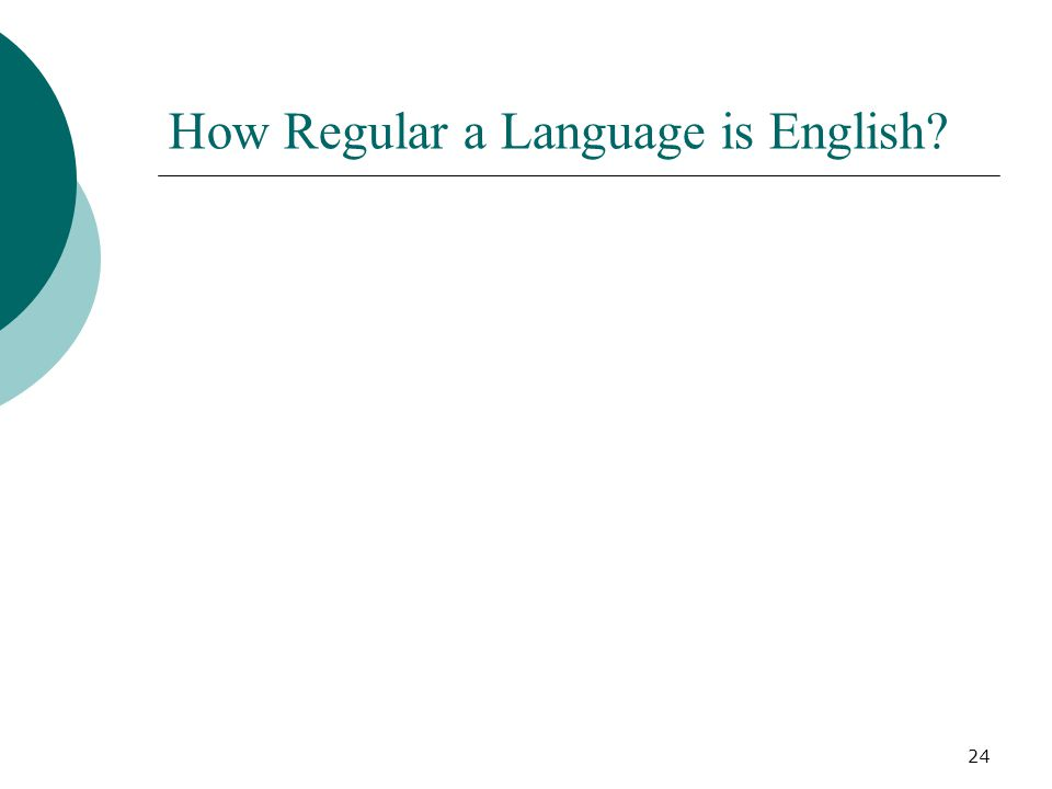 24 How Regular a Language is English?
