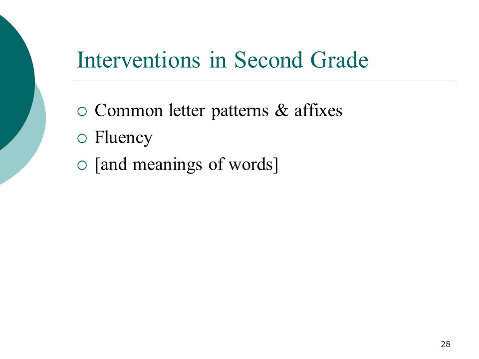 28 Interventions in Second Grade  Common letter patterns & affixes  Fluency  [and meanings of words]