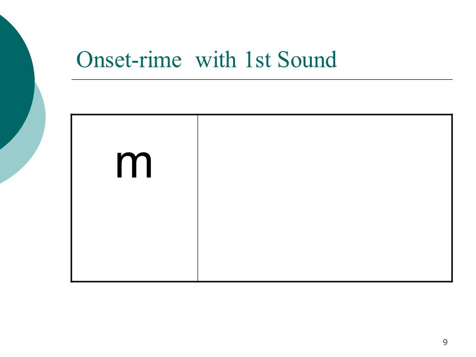 9 Onset-rime with 1st Sound m