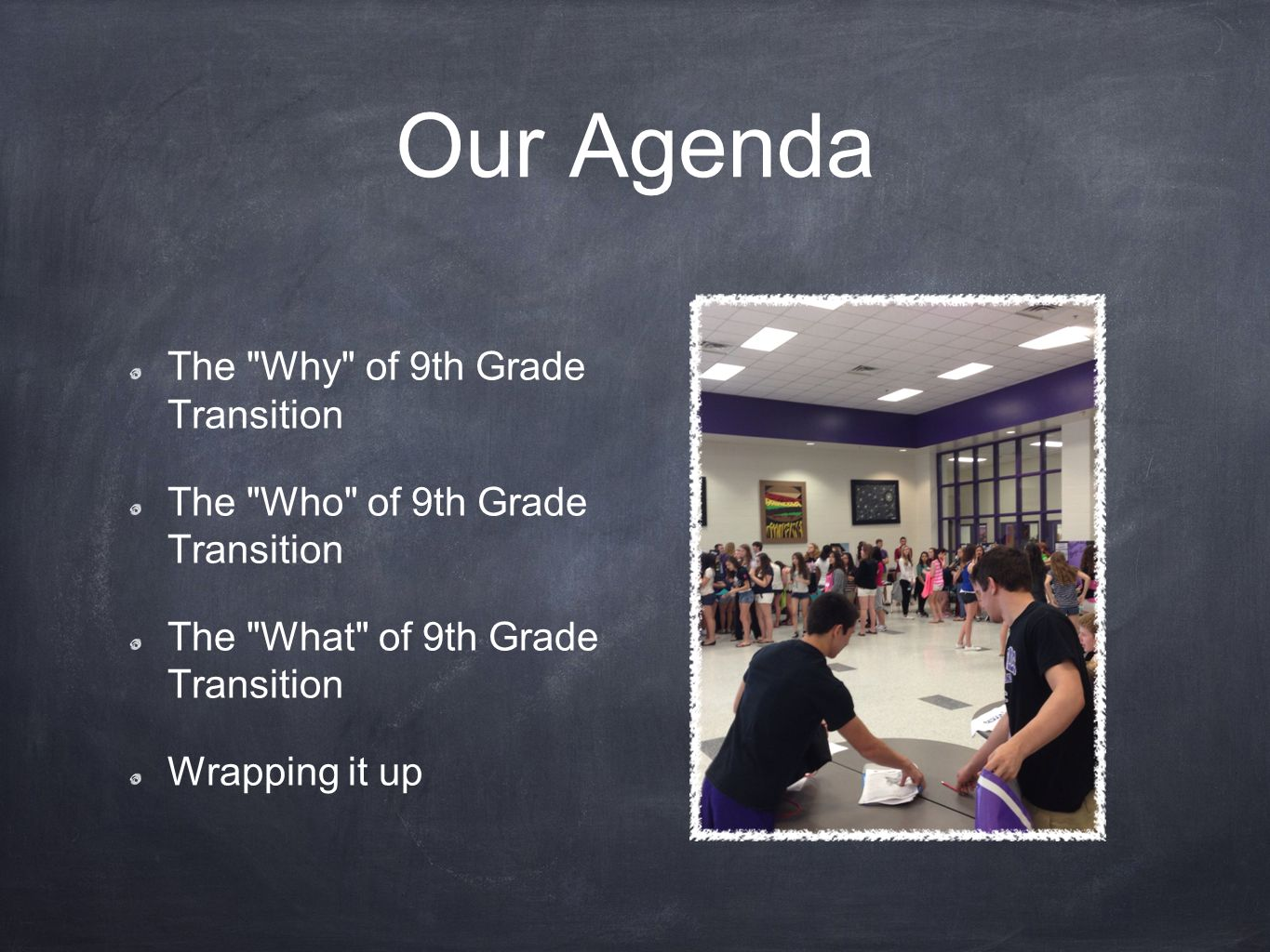Our Agenda The Why of 9th Grade Transition The Who of 9th Grade Transition The What of 9th Grade Transition Wrapping it up