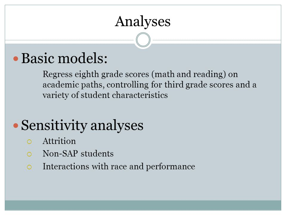 Analyses Basic models: Regress eighth grade scores (math and reading) on academic paths, controlling for third grade scores and a variety of student characteristics Sensitivity analyses  Attrition  Non-SAP students  Interactions with race and performance