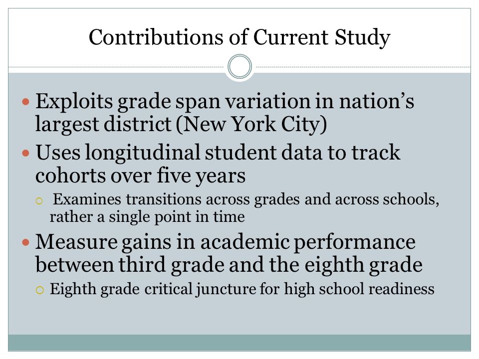 Contributions of Current Study Exploits grade span variation in nation's largest district (New York City) Uses longitudinal student data to track cohorts over five years  Examines transitions across grades and across schools, rather a single point in time Measure gains in academic performance between third grade and the eighth grade  Eighth grade critical juncture for high school readiness