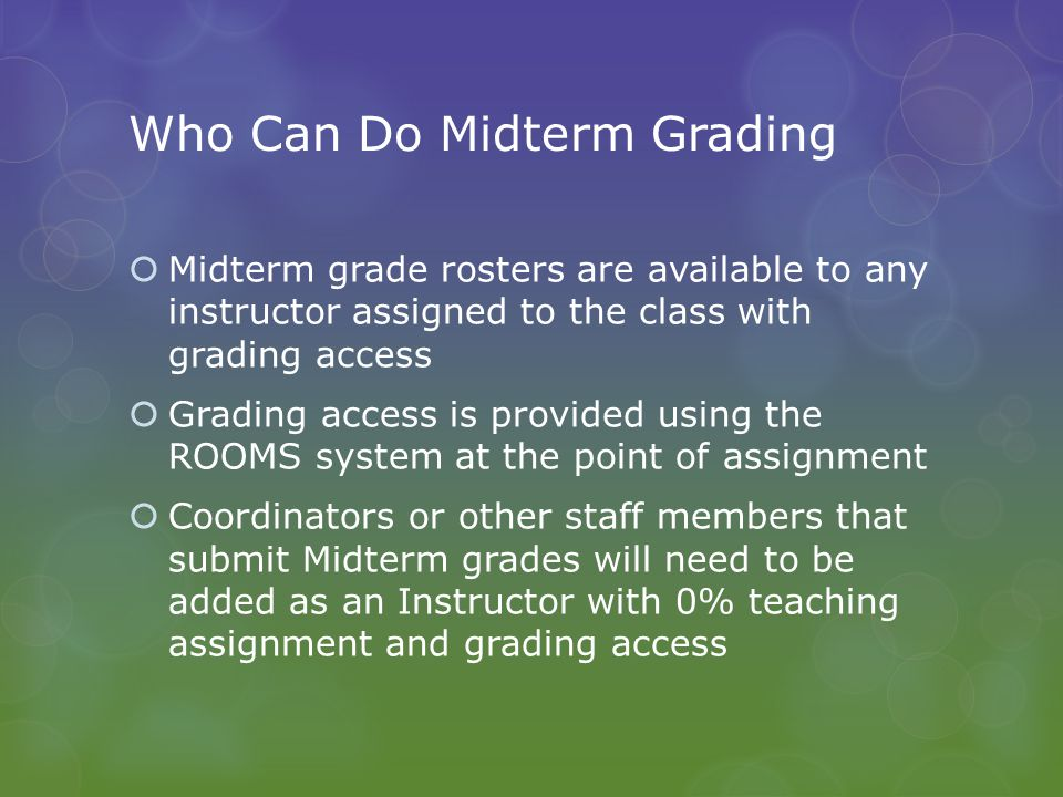 Mechanics of Midterm Grading  Detailed step by step visual instructions for submitting Midterm grades can be found in zzusis at Main Menu > zzusis Training > Faculty Center > in the folder Grading in zzusis