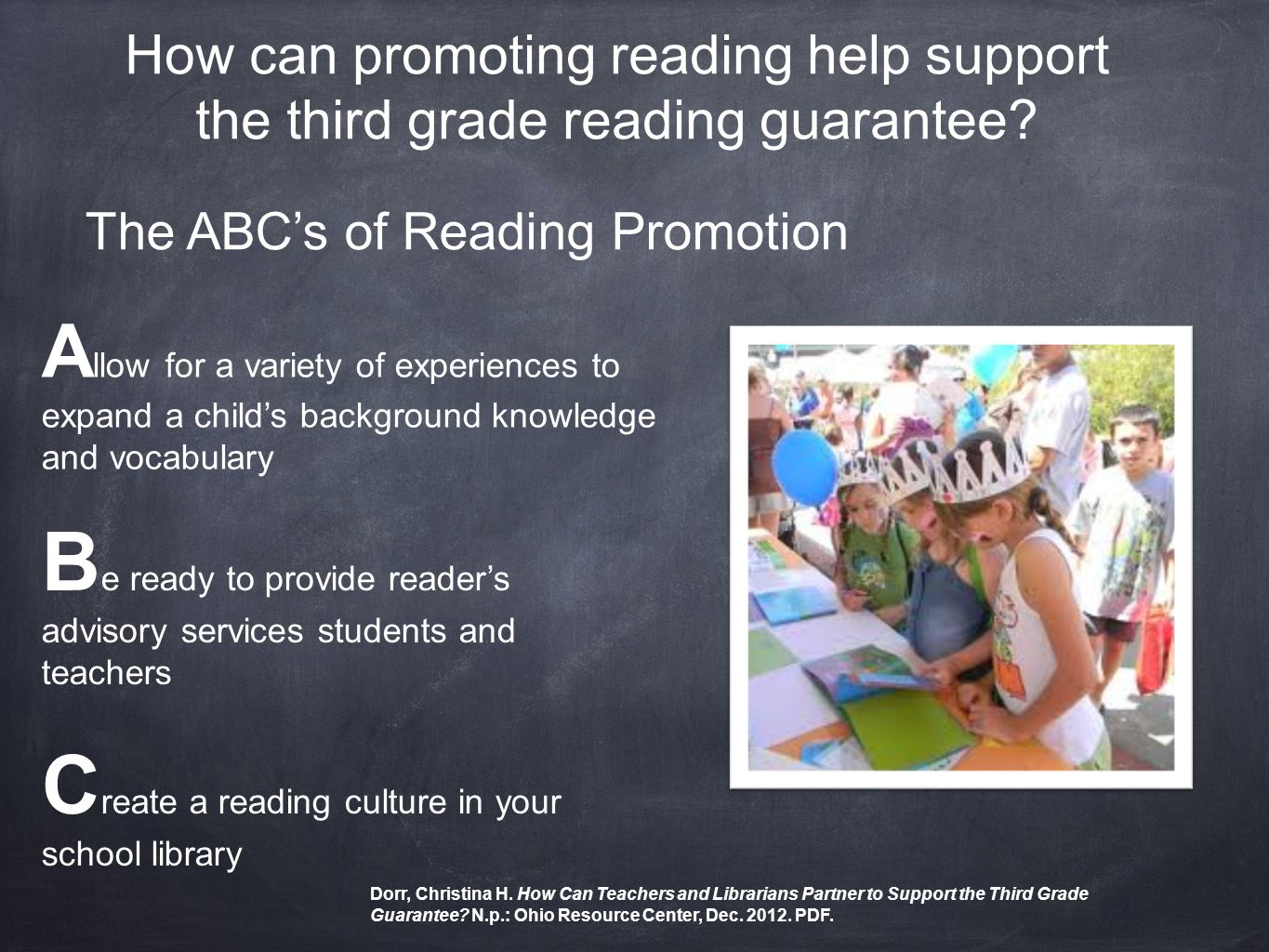 How can promoting reading help support the third grade reading guarantee.