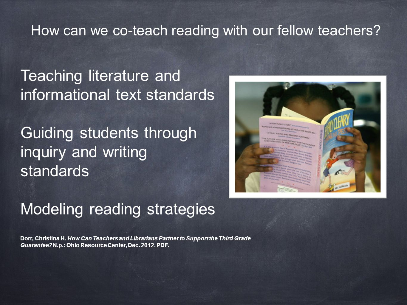 How can we co-teach reading with our fellow teachers.