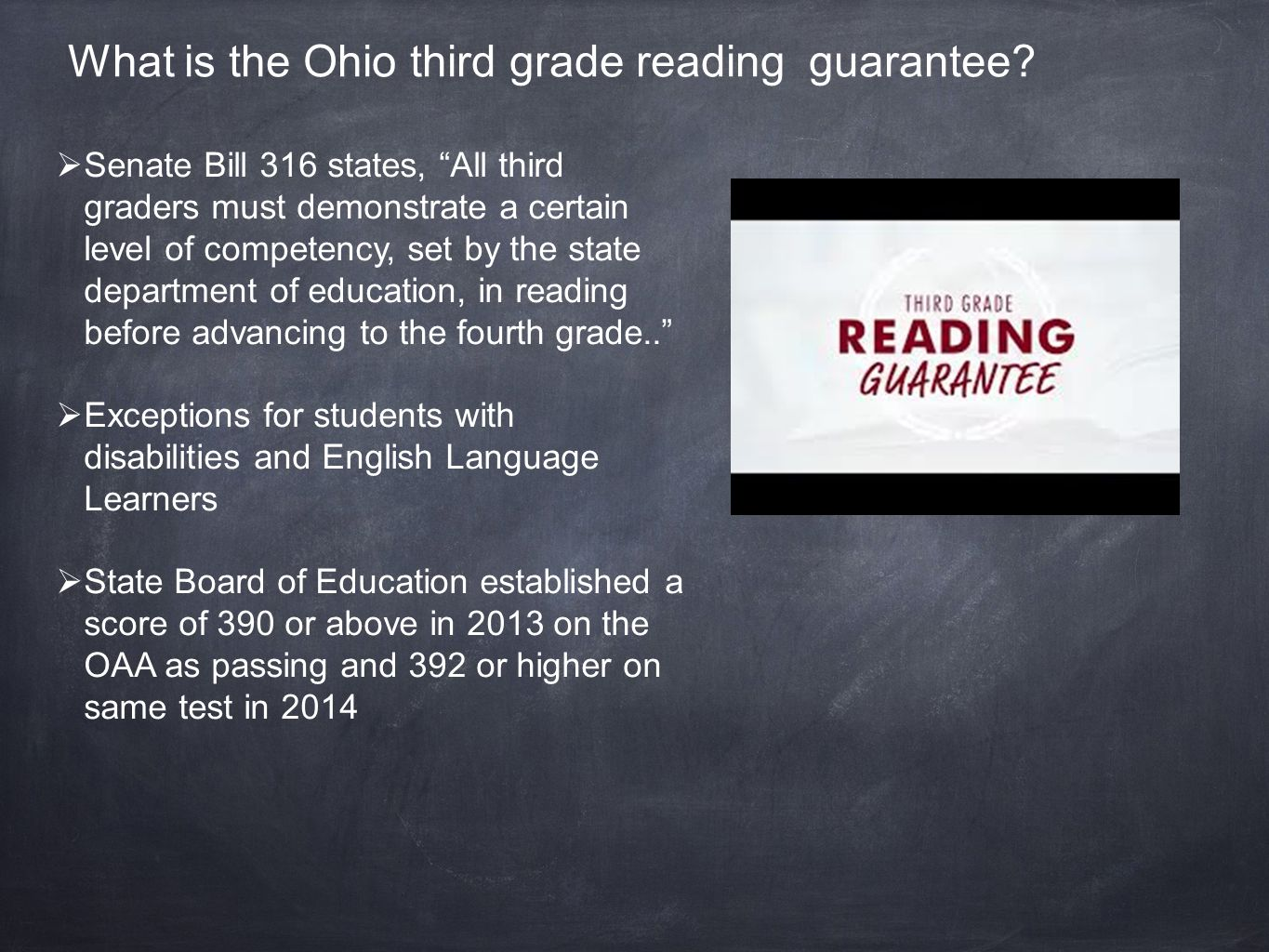 What is required by schools regarding the Ohio third grade reading guarantee.
