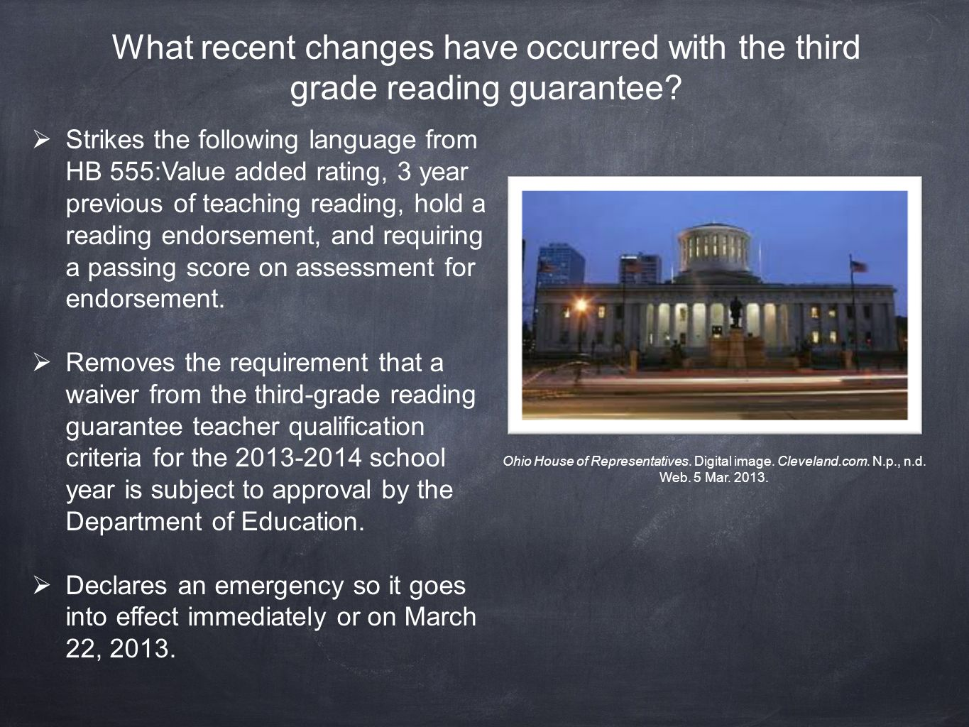 What recent changes have occurred with the third grade reading guarantee.