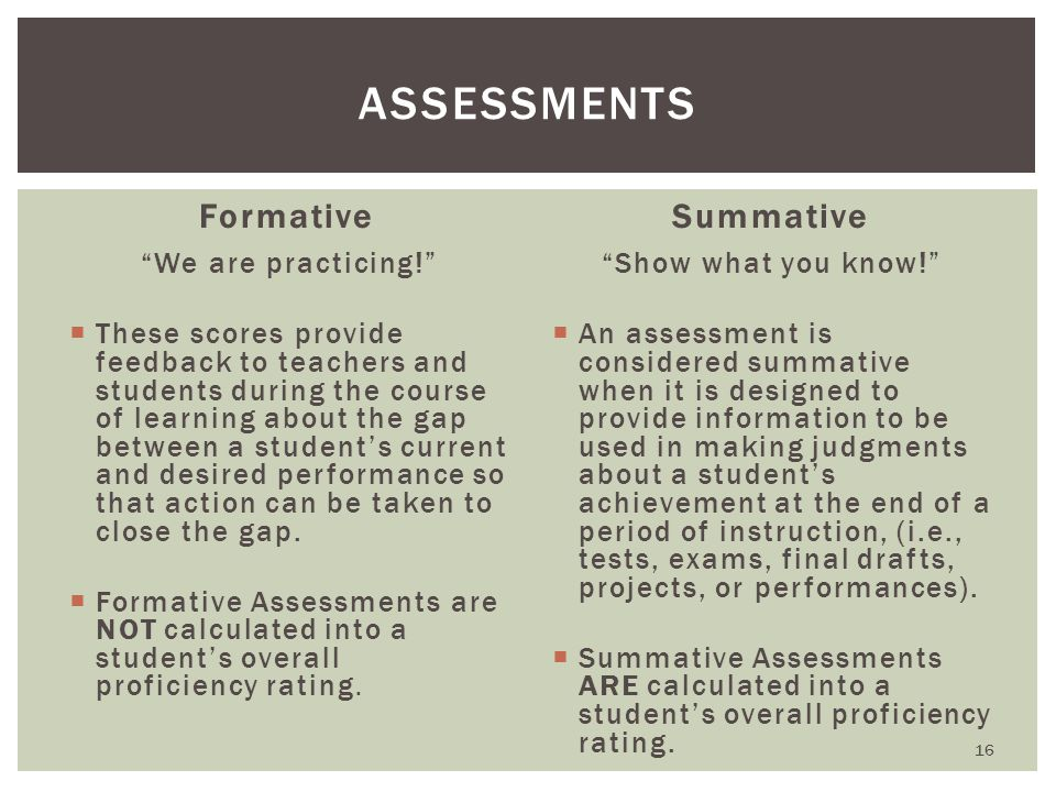 Formative We are practicing!  These scores provide feedback to teachers and students during the course of learning about the gap between a student's current and desired performance so that action can be taken to close the gap.