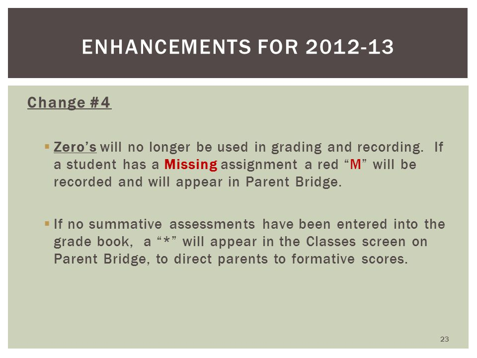 Change #4  Zero's will no longer be used in grading and recording.