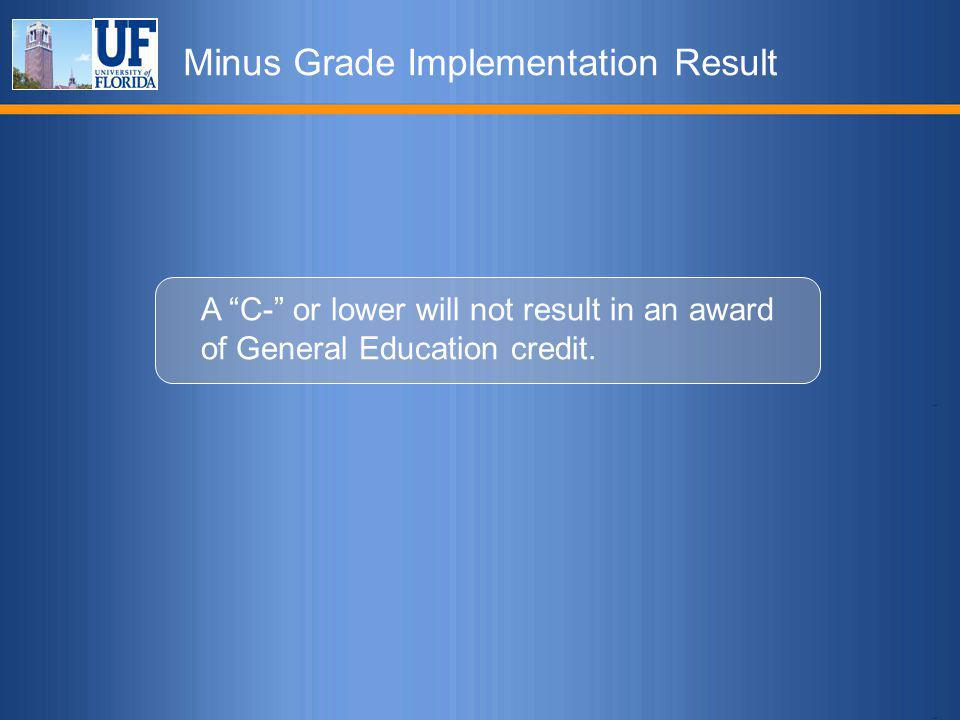 Minus Grade Implementation Result A C- or lower will not result in an award of General Education credit.