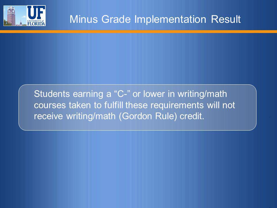Minus Grade Implementation Result Students earning a C- or lower in writing/math courses taken to fulfill these requirements will not receive writing/math (Gordon Rule) credit.