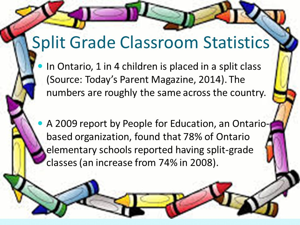 Split Grade Classroom Statistics In Ontario, 1 in 4 children is placed in a split class (Source: Today's Parent Magazine, 2014).