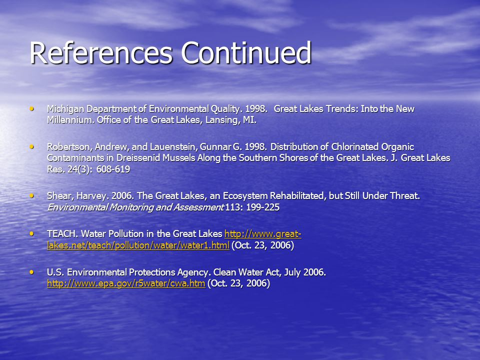 References Continued Michigan Department of Environmental Quality.