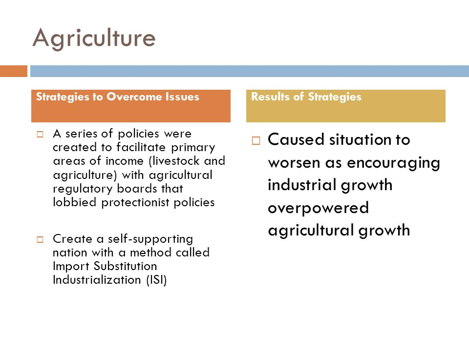Agriculture  A series of policies were created to facilitate primary areas of income (livestock and agriculture) with agricultural regulatory boards that lobbied protectionist policies  Create a self-supporting nation with a method called Import Substitution Industrialization (ISI)  Caused situation to worsen as encouraging industrial growth overpowered agricultural growth Strategies to Overcome IssuesResults of Strategies