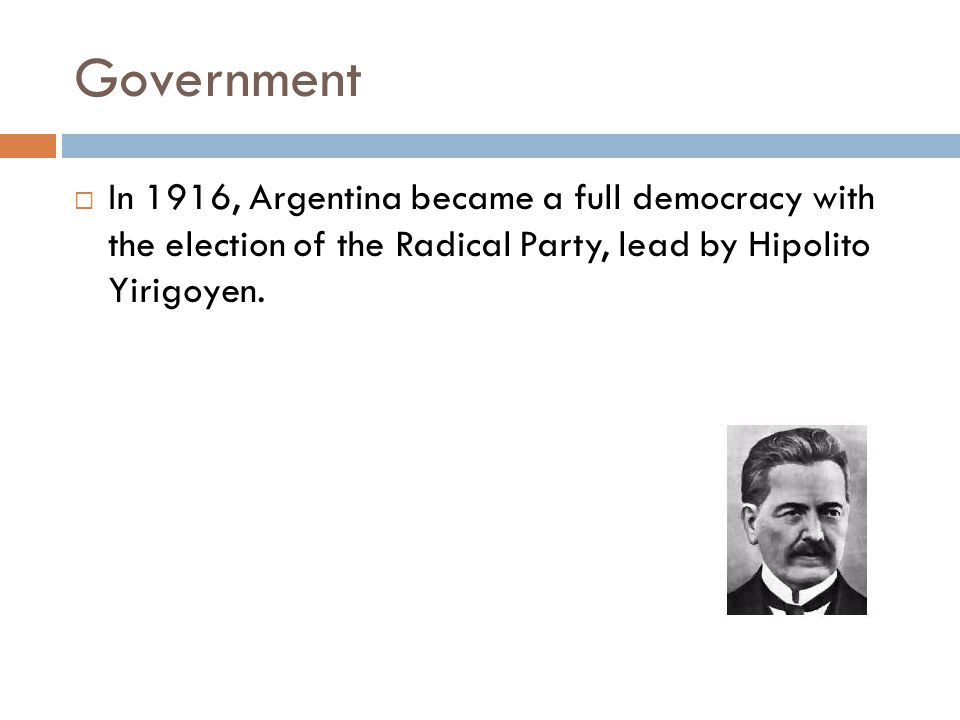 Background info  The period spanning from 1916 to 1930 in Argentina is known as the Radical Phase, as it began with the election of the Radical Civic Union (UCR) candidate Hipólito Yrigoyen, ousting the long term conservative National Autonnous Party.