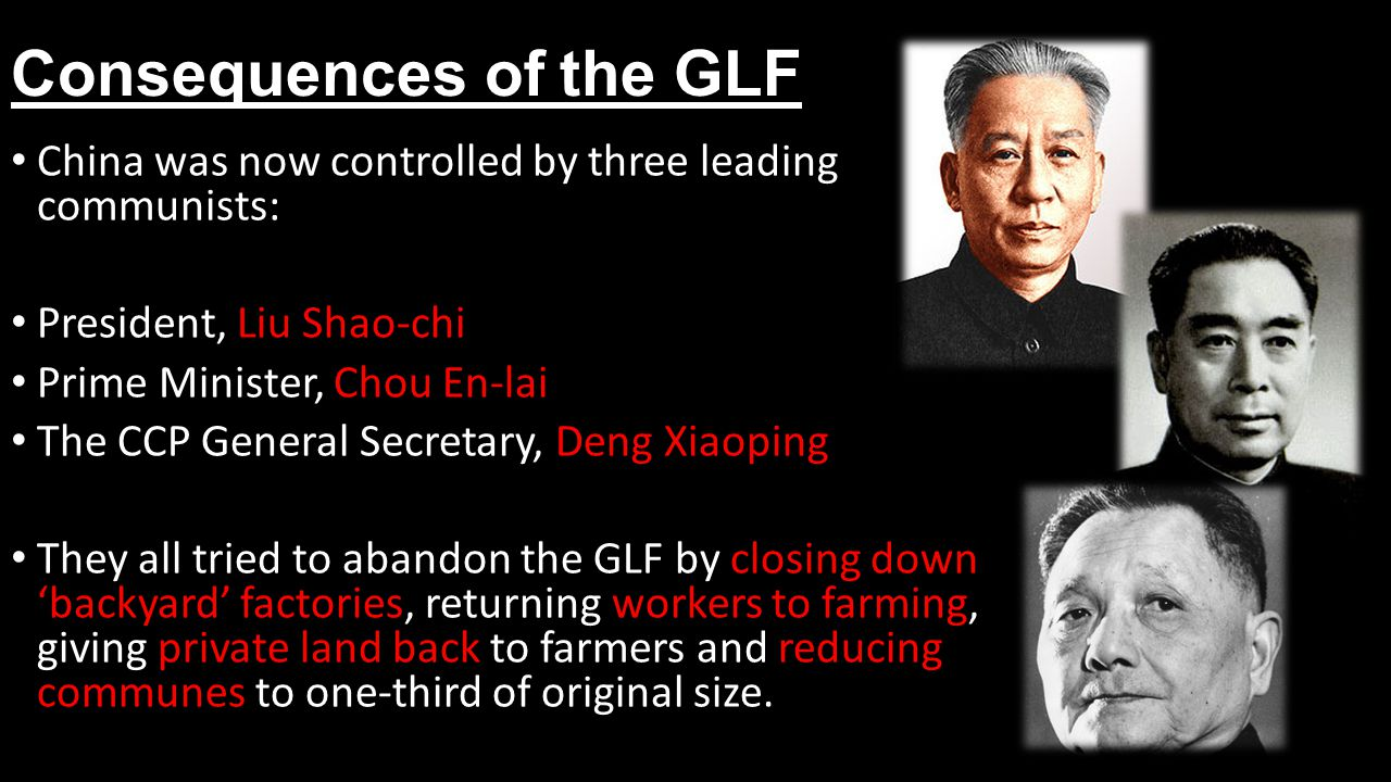 Consequences of the GLF China was now controlled by three leading communists: President, Liu Shao-chi Prime Minister, Chou En-lai The CCP General Secretary, Deng Xiaoping They all tried to abandon the GLF by closing down 'backyard' factories, returning workers to farming, giving private land back to farmers and reducing communes to one-third of original size.