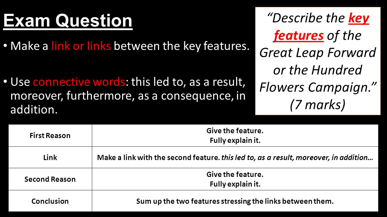 Exam Question Make a link or links between the key features.