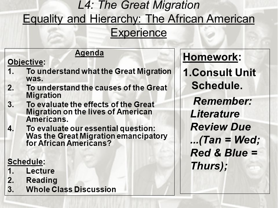 L4: The Great Migration Equality and Hierarchy: The African American Experience Agenda Objective: 1.To understand what the Great Migration was.
