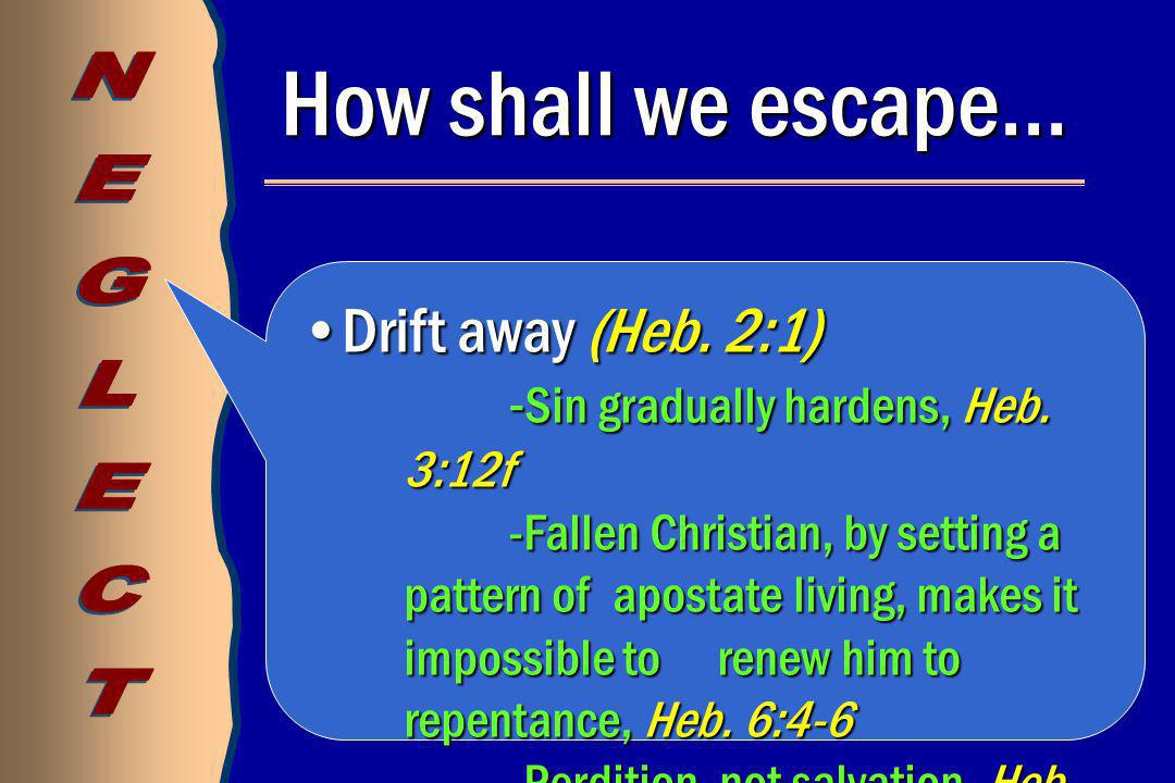 How shall we escape… Drift away (Heb. 2:1)Drift away (Heb.