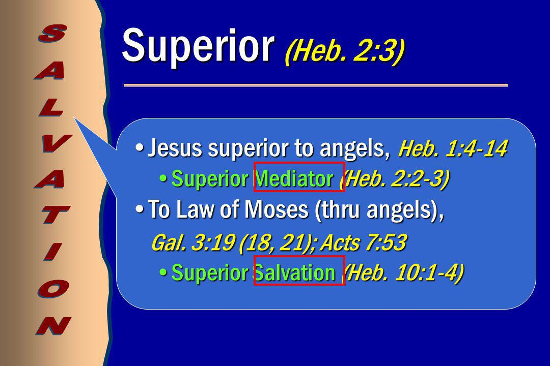 Jesus superior to angels, Heb. 1:4-14Jesus superior to angels, Heb. 1:4-14 Superior Mediator (Heb. 2:2-3)Superior Mediator (Heb. 2:2-3) To Law of Mose