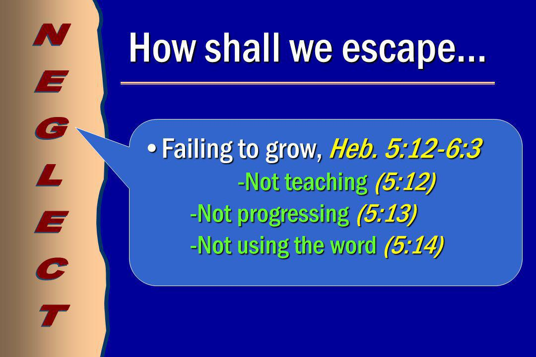 How shall we escape… Failing to grow, Heb. 5:12-6:3Failing to grow, Heb.