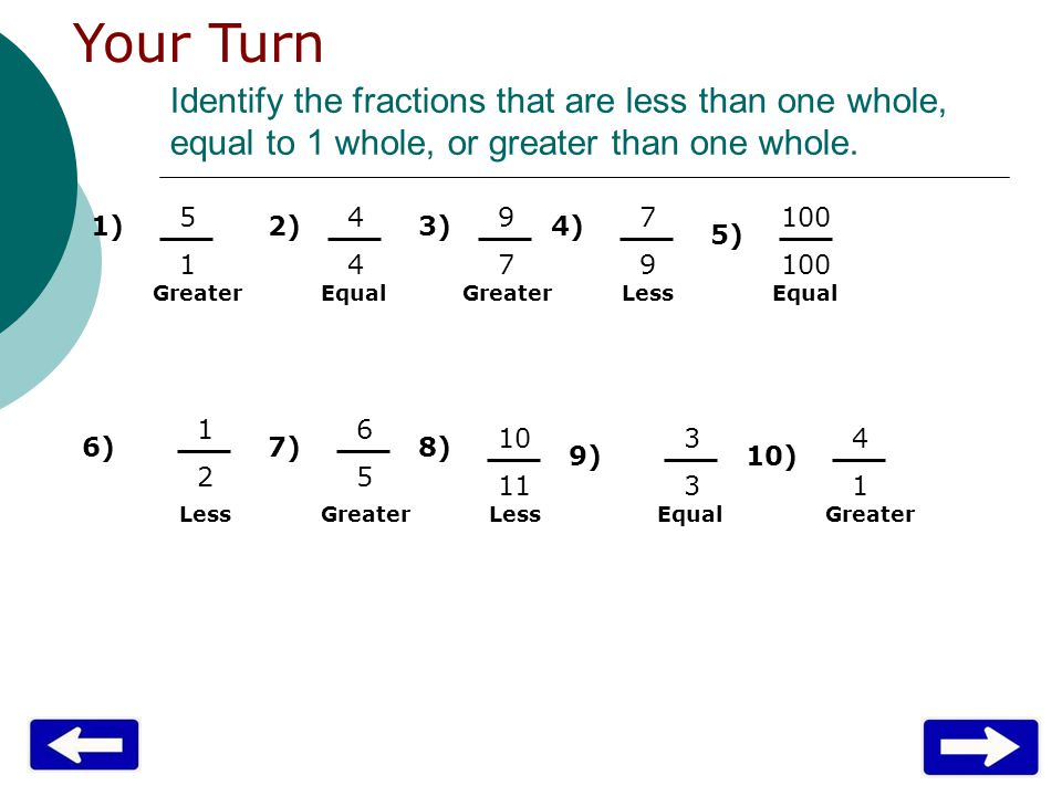 Identify the fractions that are less than one whole, equal to 1 whole, or greater than one whole.