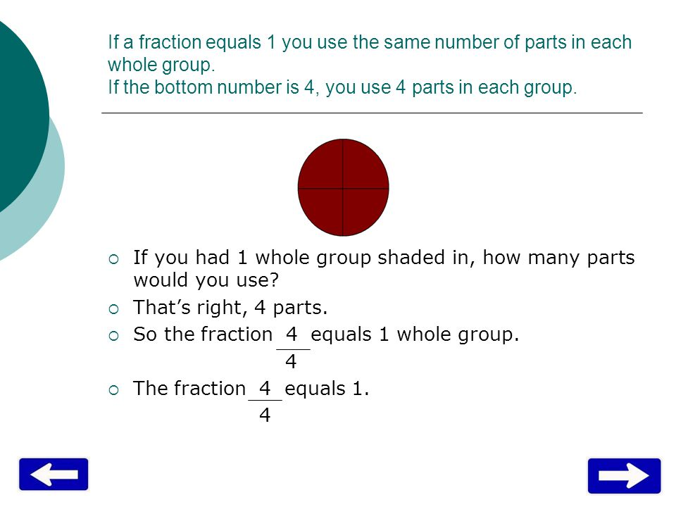 If a fraction equals 1 you use the same number of parts in each whole group. If the bottom number is 4, you use 4 parts in each group.  If you had 1
