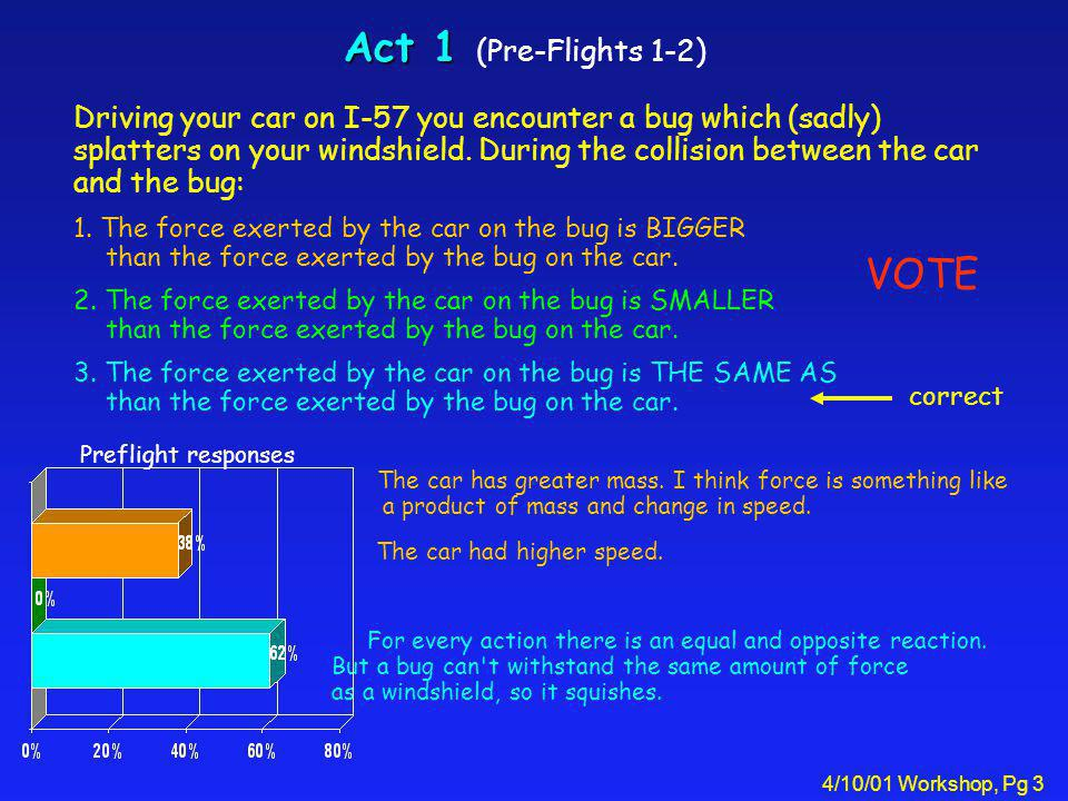 4/10/01 Workshop, Pg 3 Act 1 Act 1 (Pre-Flights 1-2) Driving your car on I-57 you encounter a bug which (sadly) splatters on your windshield. During t