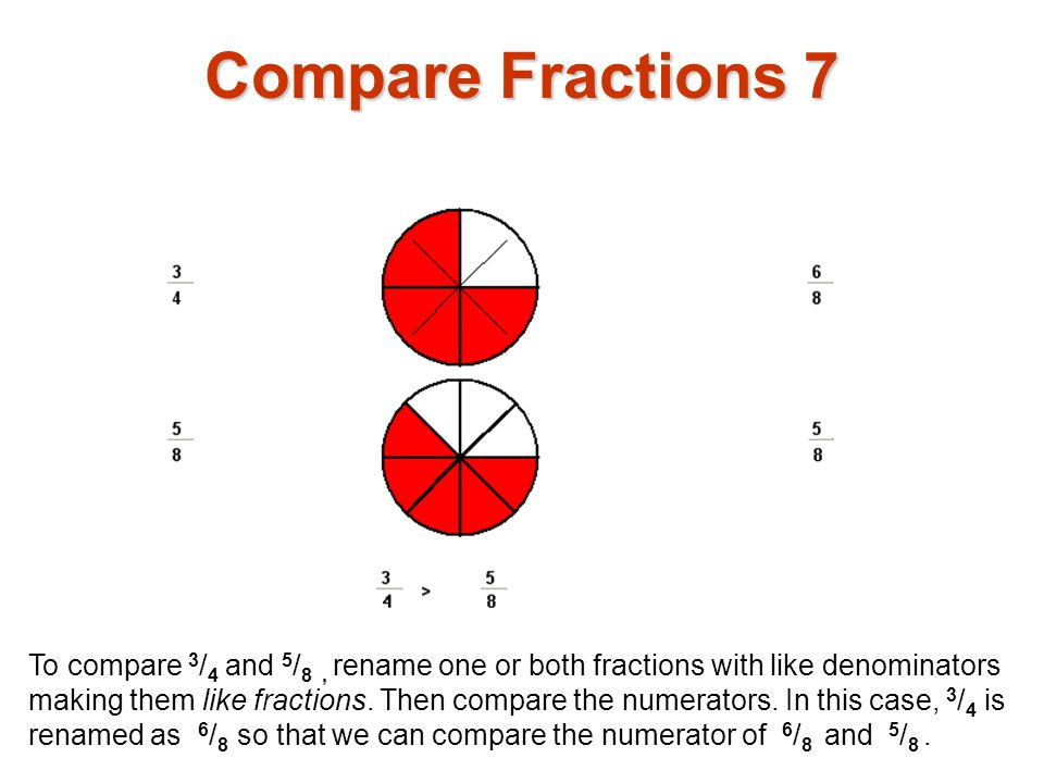 To compare 3 / 4 and 5 / 8, rename one or both fractions with like denominators making them like fractions. Then compare the numerators. In this case,