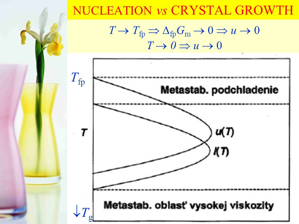 NUCLEATION vs CRYSTAL GROWTH T  T fp   fp G m  0  u  0 T  0  u  0 T fp TgTg