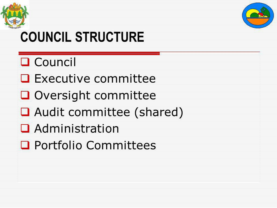 COUNCIL STRUCTURE  Council  Executive committee  Oversight committee  Audit committee (shared)  Administration  Portfolio Committees